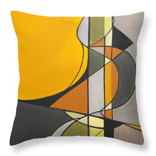 ruth Palmer Abstract Geometric Painting Acrylic Black Grey Green Orange Throw Pillow featuring the painting From Time To Time by Ruth Palmer