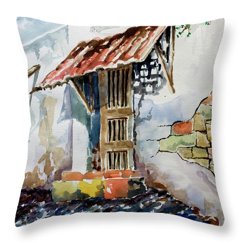 Mexican Doorway Painting Throw Pillow featuring the painting Front Door by Kandyce Waltensperger