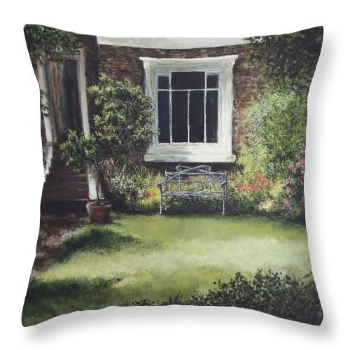 Impressionist Throw Pillow featuring the painting Front Garden Trafalgar Rd London by Lizzy Forrester