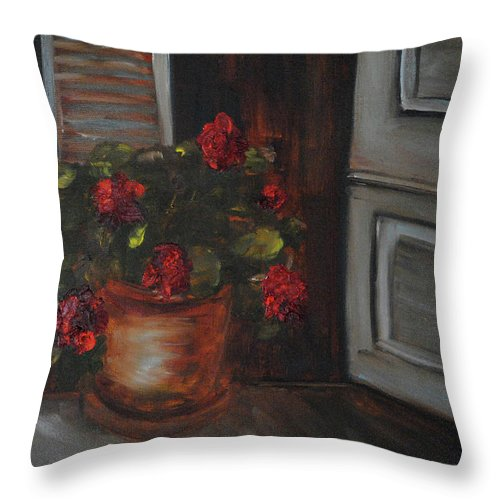 Flowers Throw Pillow featuring the painting Front Porch Flowers by Debbie Frame Weibler