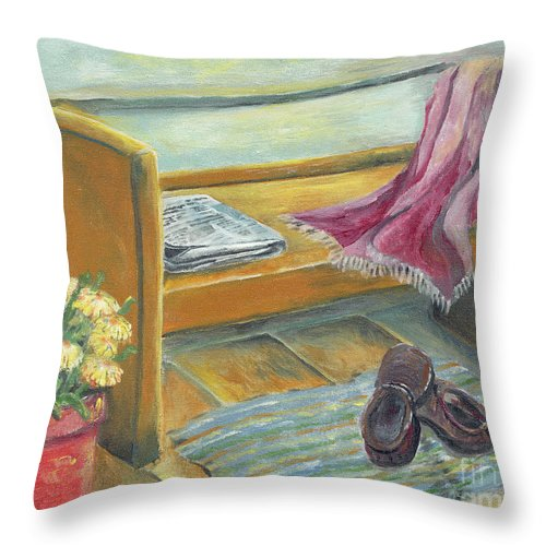 Porches Throw Pillow featuring the painting Front Porch Shoes by Judith Whittaker