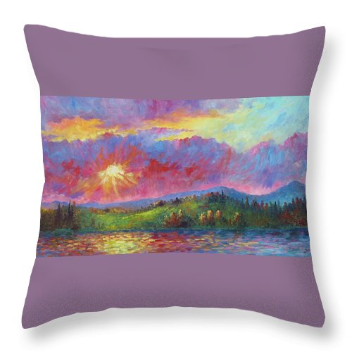 Landscape Throw Pillow featuring the painting Front Range Sunset by David G Paul