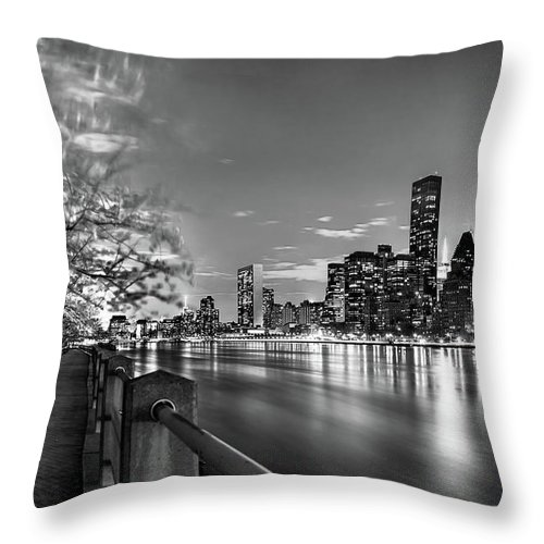 One World Trade Center Throw Pillow featuring the photograph Front Row Roosevelt Island by Az Jackson