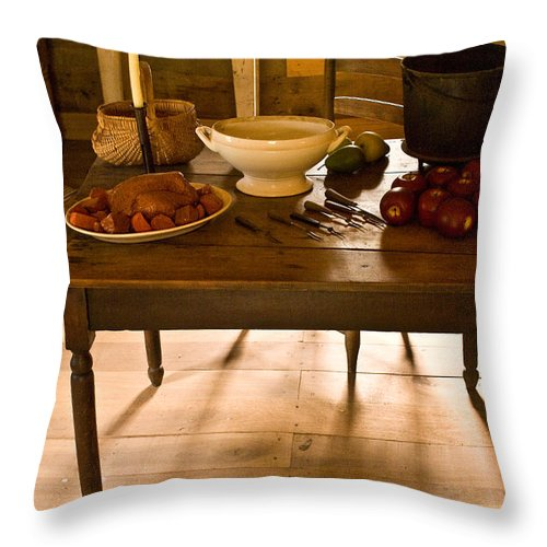 Frontier Throw Pillow featuring the photograph Frontier Meal by Douglas Barnett