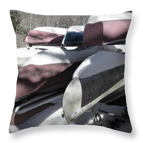 Landscape Throw Pillow featuring the photograph Frosted Canoes by Jim Love