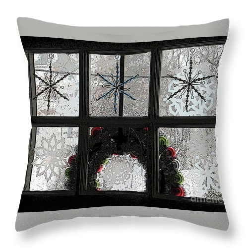 Christmas Throw Pillow featuring the digital art Frosted Windowpanes by Blake Baines