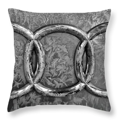 Vehicle Emblem Throw Pillow featuring the photograph Frosty Audi by Catherine Melvin