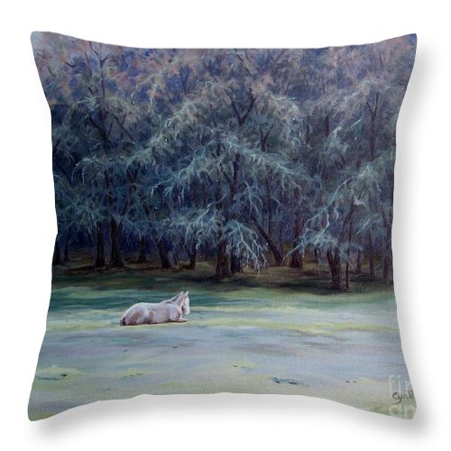 Horse Oil Painting Throw Pillow featuring the painting Frosty Morning by Cynthia Riley