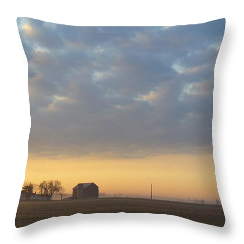 Sunrise Throw Pillow featuring the photograph Frosty Spring Sunrise 2 by Peggy King