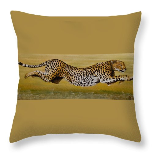 Cheetah Flying Run Speed Stretch Chase Throw Pillow featuring the painting Frozen At Full Charge by Pauline Sharp