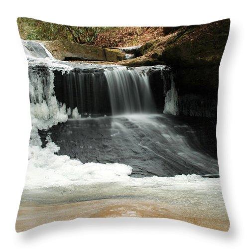 Waterfall Throw Pillow featuring the photograph Frozen Creation Falls by Amanda Kiplinger