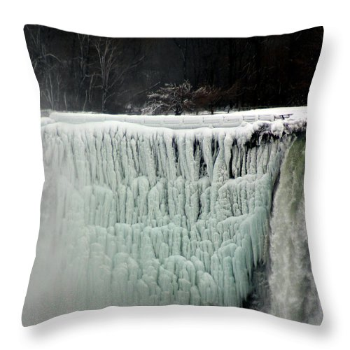 Landscape Throw Pillow featuring the photograph Frozen Falls by Anthony Jones