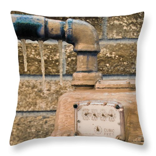 Winter Throw Pillow featuring the photograph Frozen Meter by Donna Shahan