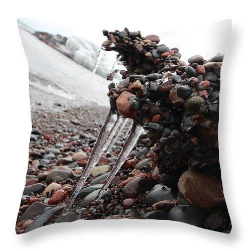 Adventure Throw Pillow featuring the photograph Frozen Shoreline by Nicholas Miller