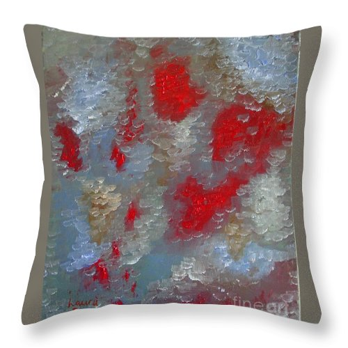 Abstract Throw Pillow featuring the painting Frozen Street by Laurie Morgan
