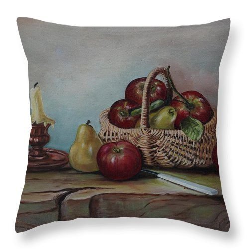 Fruit Basket Throw Pillow featuring the painting Fruit Basket - Lmj by Ruth Kamenev
