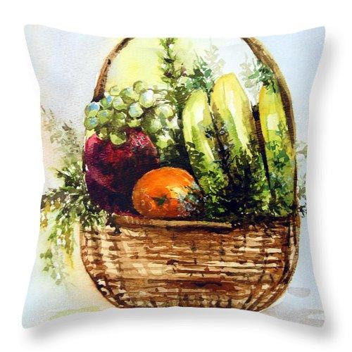 Fruits Throw Pillow featuring the painting Fruit Basket by Anju Saran