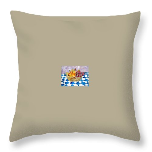 Fruit Basket Throw Pillow featuring the painting Fruit Basket Still Life 2 Painting by Derek Mccrea