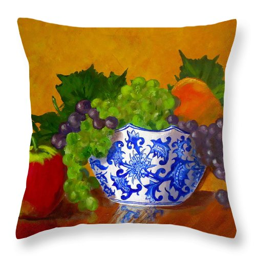 Still Life Throw Pillow featuring the painting Fruit Bowl II by Pete Maier