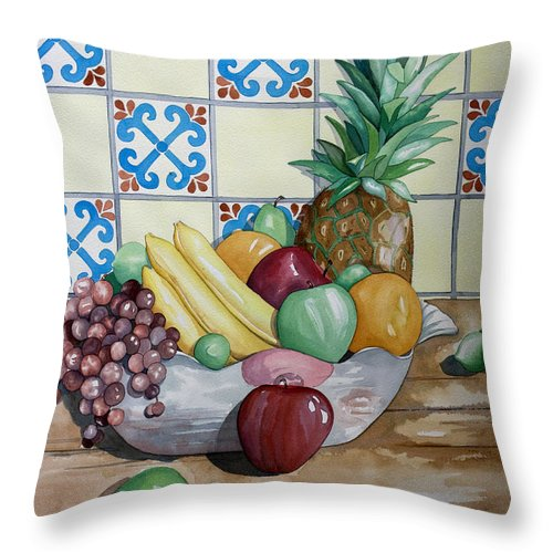 Fruit Painting Throw Pillow featuring the painting Fruit Bowl by Kandyce Waltensperger