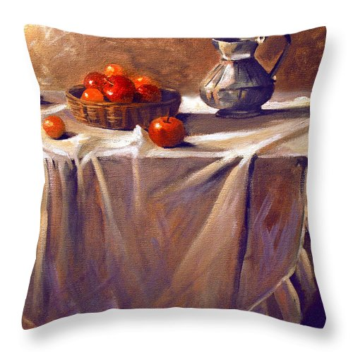 Still Life Throw Pillow featuring the painting Fruit By Candle Light by Nancy Griswold