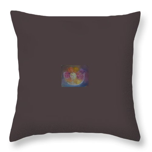 Still Life Throw Pillow featuring the painting Fruit In Glass Bowl by Sheila Mashaw
