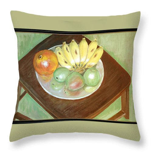 Fruits Throw Pillow featuring the painting Fruit Plate by Usha Shantharam