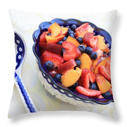 Fruit Throw Pillow featuring the photograph Fruit Salad With Spoon by Carol Groenen