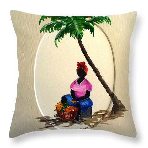 Throw Pillow featuring the painting Fruit Seller by Karin Dawn Kelshall- Best
