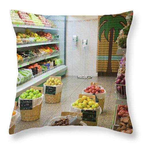 Fruit Shop Throw Pillow featuring the photograph Fruit Shop by Gaspar Avila