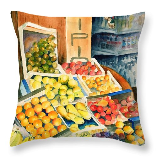 Fruit Shop Window Throw Pillow featuring the painting Fruit Shop In San Gimignano by Judy Swerlick