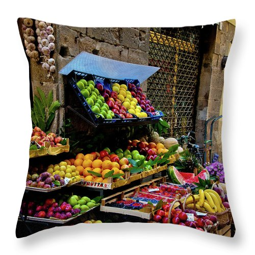 Fruits Photographs Throw Pillow featuring the photograph Fruit Stand by Harry Spitz