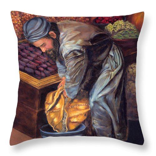 Figurative Painting Throw Pillow featuring the painting Fruit Vendor by Portraits By NC