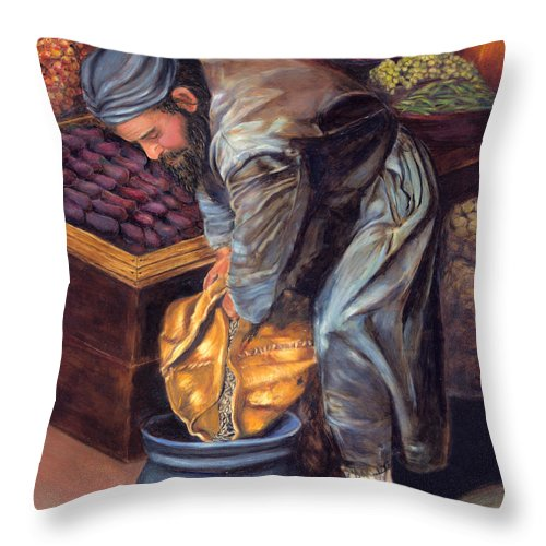 Figurative Painting Throw Pillow featuring the painting Fruit Vendor by Enzie Shahmiri