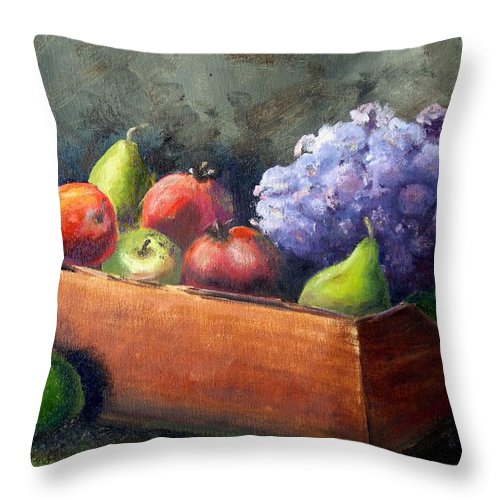 Hydrangea Throw Pillow featuring the painting Fruit With Hydrangea by Patricia Caldwell