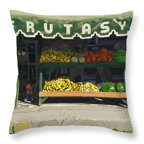 Market In Puerto Vallarta Mexico. Dog Added. Throw Pillow featuring the painting Frutas Y by Michael Ward