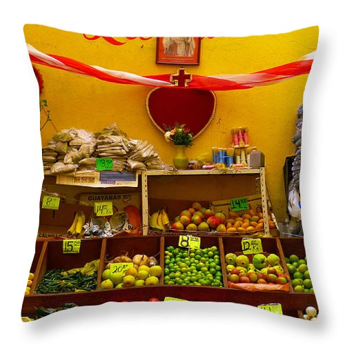 Skip Hunt Throw Pillow featuring the photograph Frutas Y Verduras by Skip Hunt