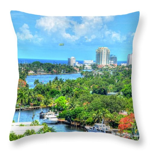 Ft. Lauderdale Throw Pillow featuring the photograph Ft. Lauderdale Waterway by Debbi Granruth