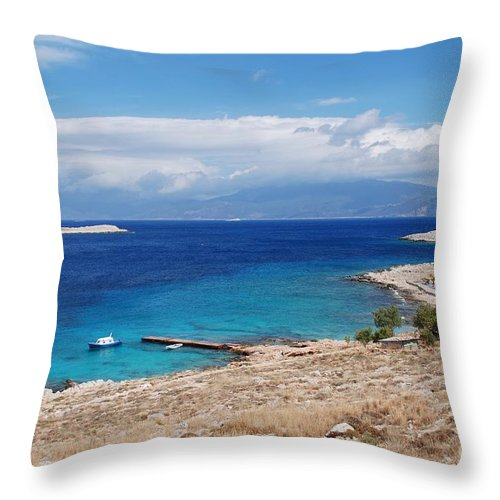 Halki Throw Pillow featuring the photograph Ftenagia Beach On Halki by David Fowler