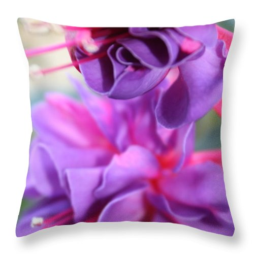 Florals Throw Pillow featuring the photograph Fuchsia Drama by Carol Groenen