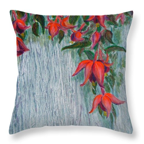 Flowers Throw Pillow featuring the painting Fuchsia On The Fence by Peggy King