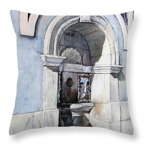 Fuente Throw Pillow featuring the painting Fuente Castro Urdiales by Tomas Castano