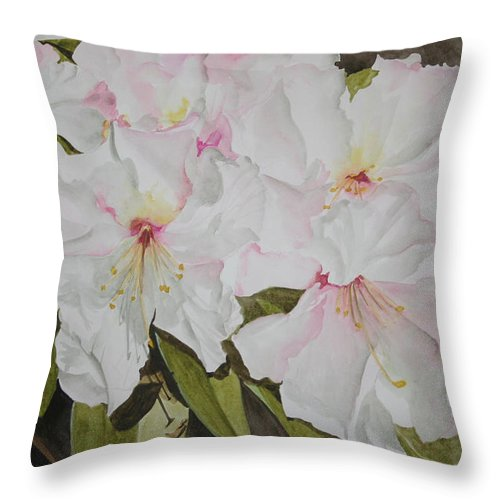 Flowers Throw Pillow featuring the painting Full Bloom by Jean Blackmer