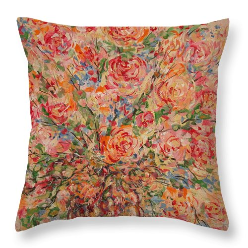 Flowers Throw Pillow featuring the painting Full Bouquet. by Leonard Holland