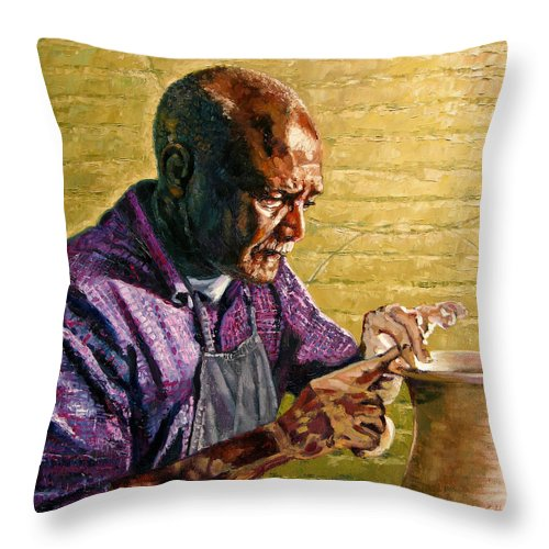 Black Potter Throw Pillow featuring the painting Full Circle by John Lautermilch