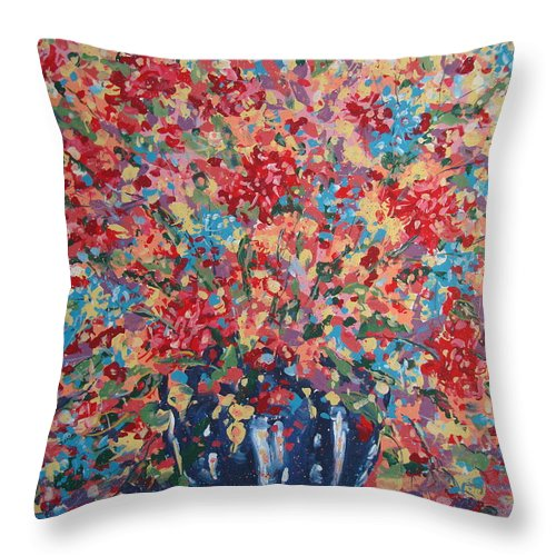 Flowers Throw Pillow featuring the painting Full Flower Bouquet. by Leonard Holland