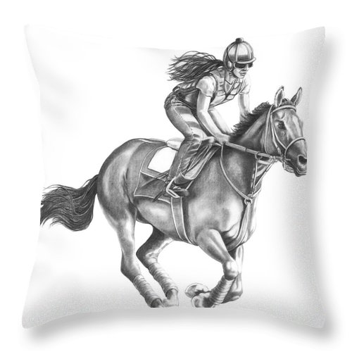 Horse Throw Pillow featuring the drawing Full Gallop by Murphy Elliott