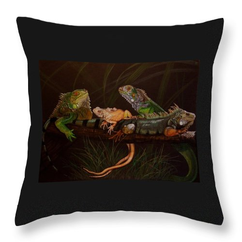 Iguana Throw Pillow featuring the drawing Full House by Barbara Keith