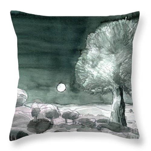 Full Moon Olive Tree - Contemporary Art - Fine Art Painting - Tuscany Painting - Watercolour Painting - Elizabethafox Throw Pillow featuring the painting Full Moon Olive Tree by Elizabetha Fox
