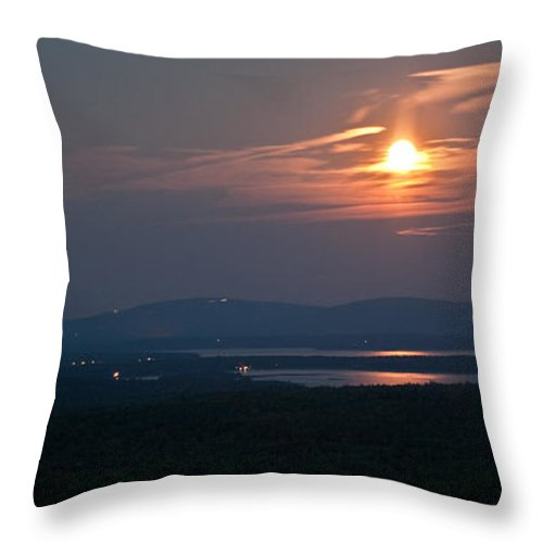 Moon Throw Pillow featuring the photograph Full Moon Over Acadia I by Greg DeBeck